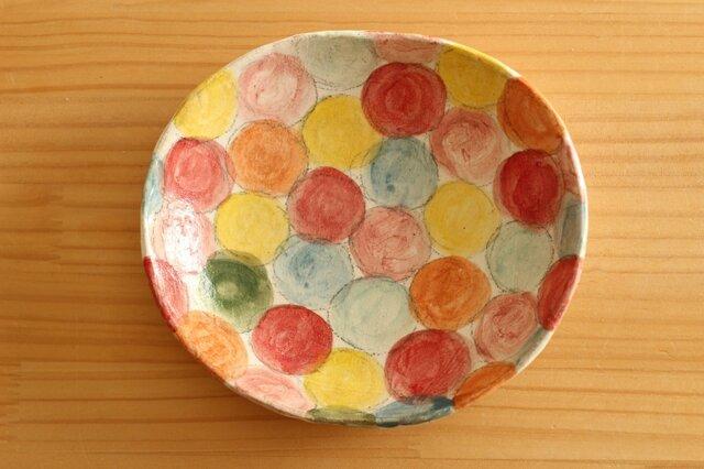 粉引きカラフルドットのオーバル皿。の画像1枚目