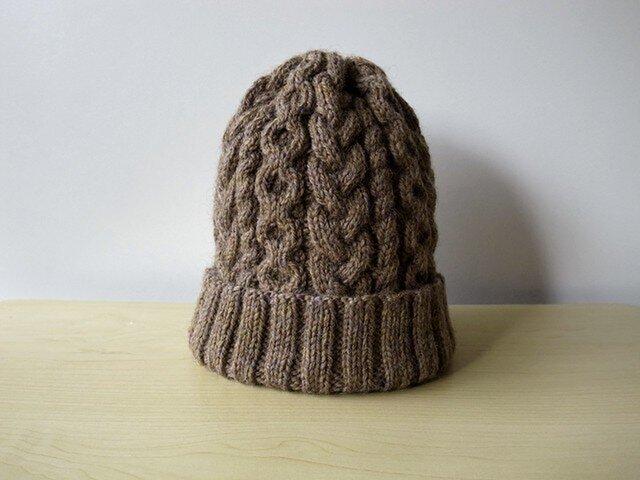 アランニット帽・ブラウンの画像1枚目