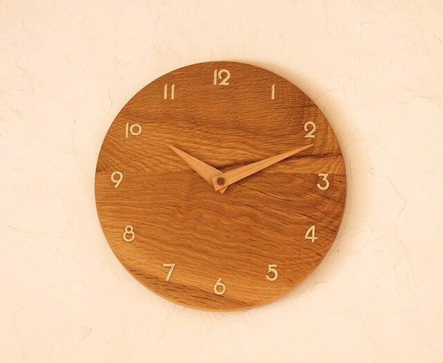 掛け時計 丸 ナラ材⑥の画像1枚目