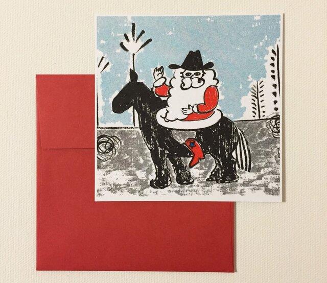 封筒付きカード カウボーイサンタ 2セットの画像1枚目