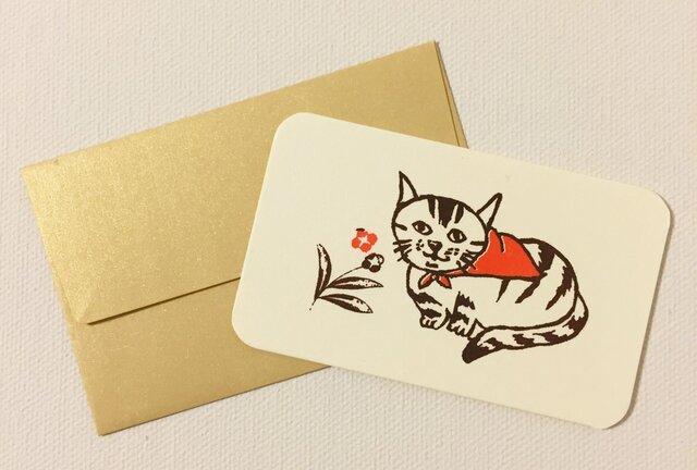 封筒付きカード 路地裏の猫 2セットの画像1枚目