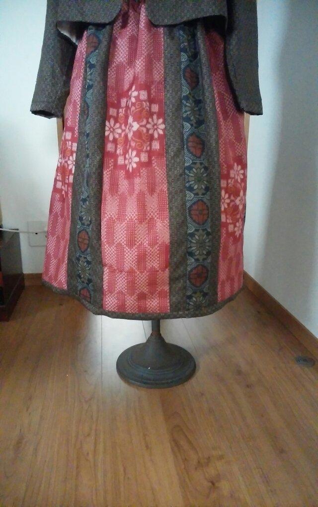 かわいい大島紬のスカート… 裏地付き…  ● … …今回限りの二割引 7200ー一点品の画像1枚目
