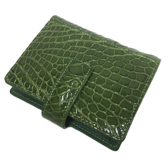 84503fcd97c9 革の王様 本物クロコダイルレザー 二つ折り財布 グリーン | leather-shop ...
