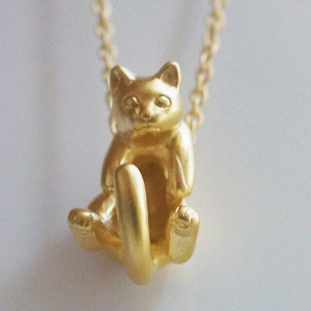 グリとラテュの猫ペンダント ラテュ(マットゴールド)の画像1枚目