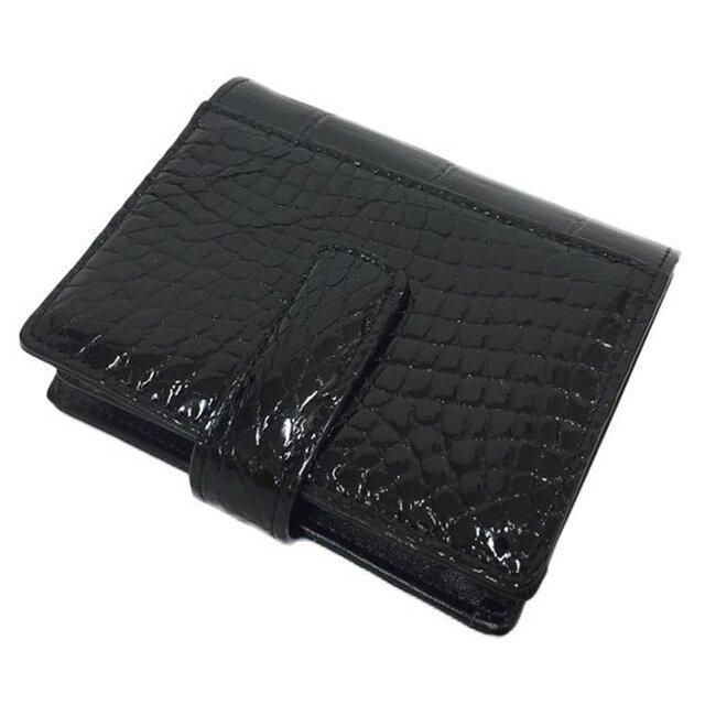 革の王様 本物クロコダイルレザー 二つ折り財布 ブラックの画像1枚目