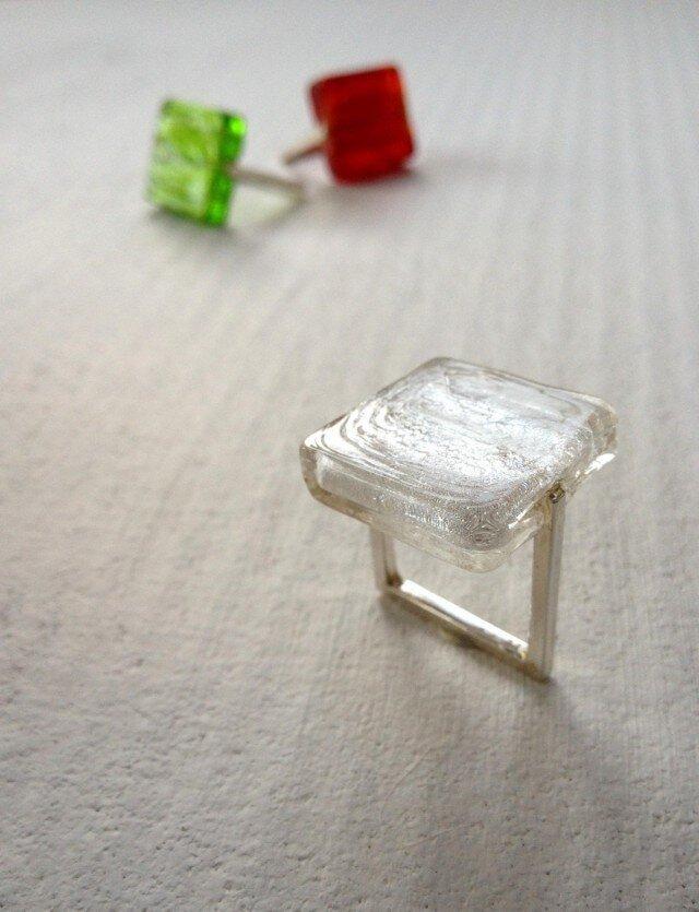 ■ガラスの□リング〔白〕の画像1枚目