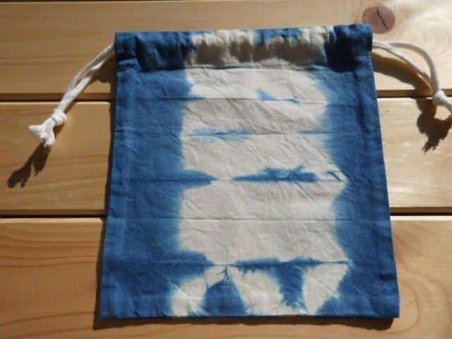 藍染め絞りで、携帯に便利♪「藍染め・マスク入れ巾着」-3の画像1枚目