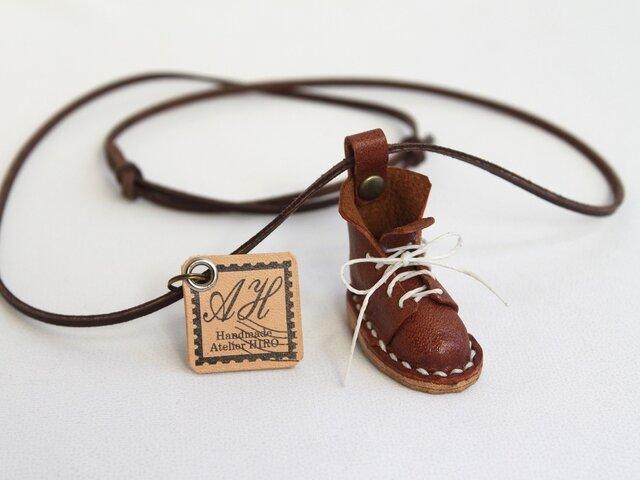 本革手縫いネックレス《こびとのブーツ》の画像1枚目