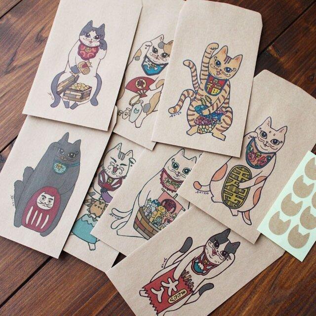 ●縁起物●招き猫又八福神のポチ袋の画像1枚目