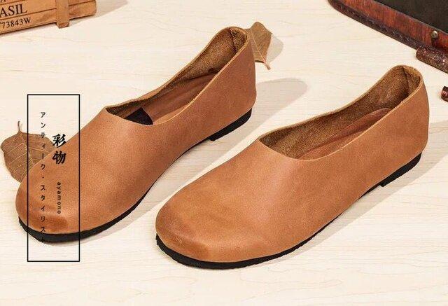 【受注製作】ゆるカーブ 100%牛革縫製ぺたんこ靴、丸トウ キャラメル KT73860の画像1枚目