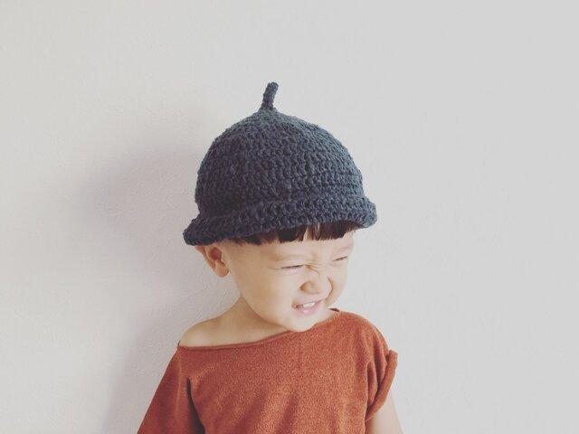 【受注製作】オーガニックコットンガラ紡糸ロールどんぐり帽子(ネイビー)Mの画像1枚目