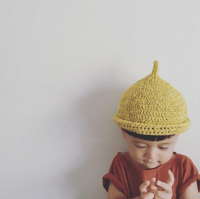 【受注製作】オーガニックコットンガラ紡糸ロールどんぐり帽子(イエロー)Mの画像1枚目