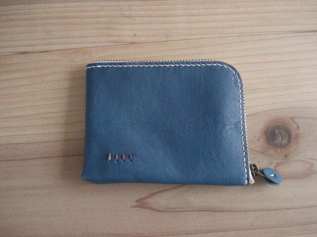 ファスナー財布 ブルー【受注製作】の画像1枚目