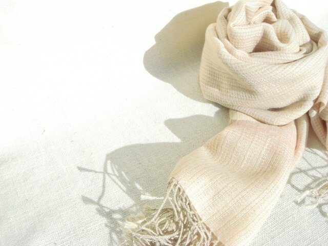 〈手織り〉ストール*カシミヤ薄紅の画像1枚目