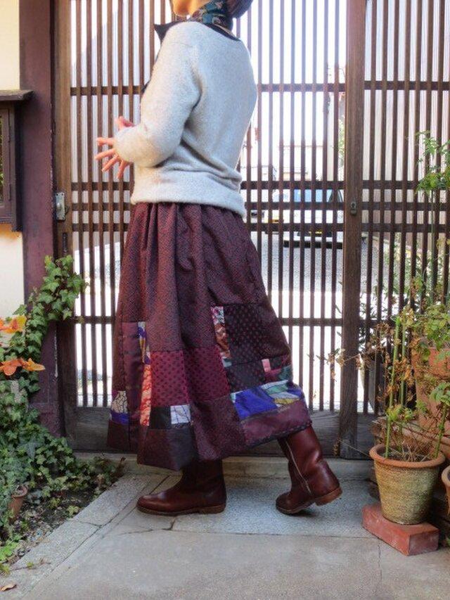着物リメイク☆ぬくぬくリバーシブル☆大島紬と銘仙で大人バルーンの画像1枚目