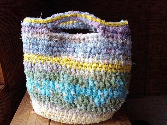 ざっくりコットンの裂き編みバッグの画像1枚目