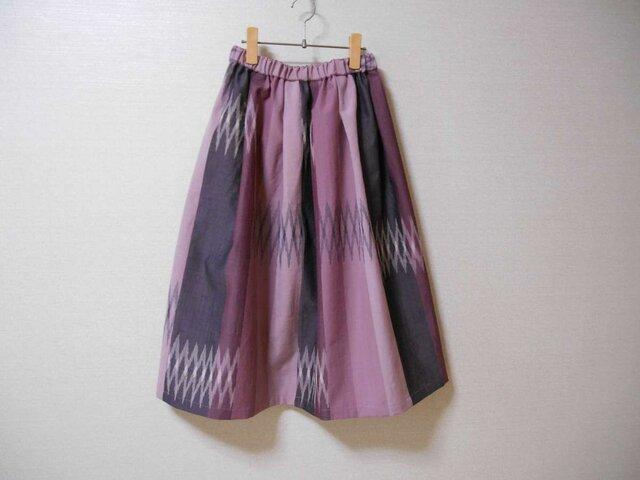 幾何学模様ウール着物リメイクスカートの画像1枚目