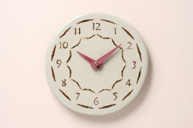 陶製掛け時計φ185(グレー)の画像1枚目