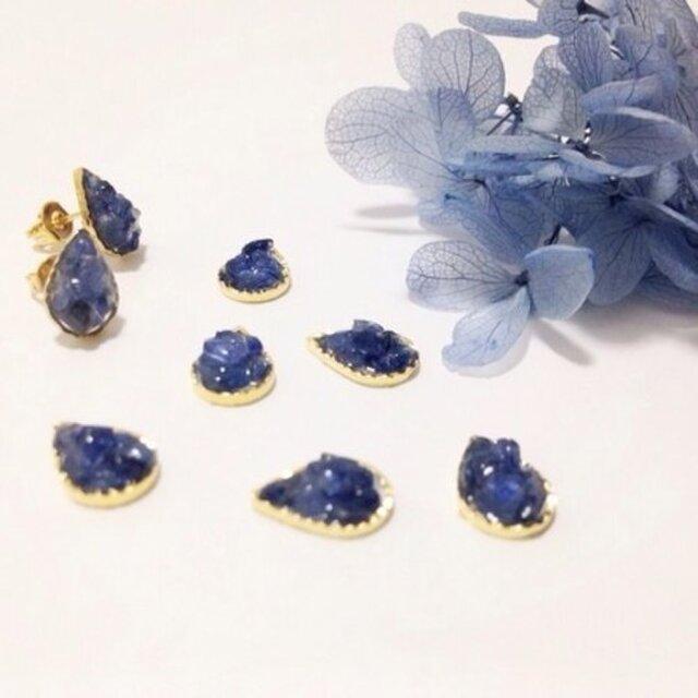 【pebble series】DropS•autumn sapphire ピアス/イヤリングの画像1枚目