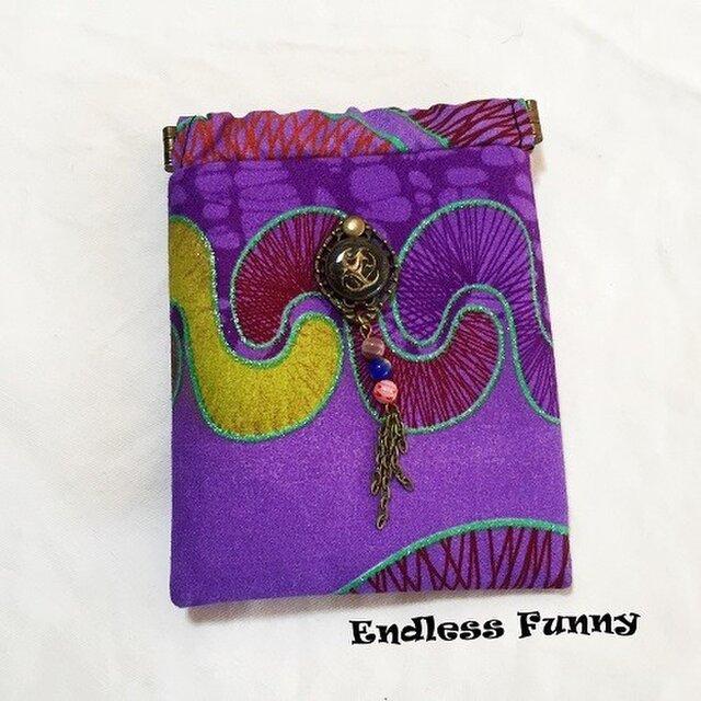 バネポーチ/バネ小物入れ/紫色  アフリカンプリント生地の画像1枚目