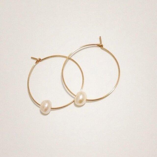 14kgf【jewelry series】fresh water pearl ×hoopの画像1枚目