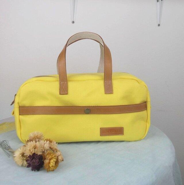 きれいなレモンイエローのミニボストンバッグ(帆布)の画像1枚目