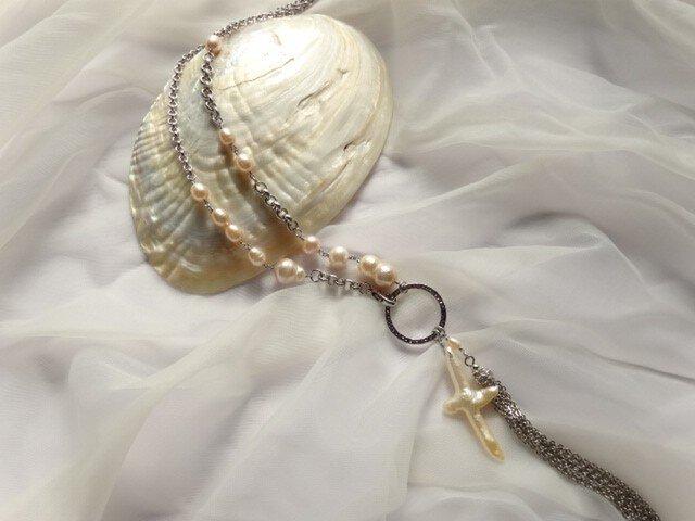 淡水真珠のクロスロングネックレスの画像1枚目
