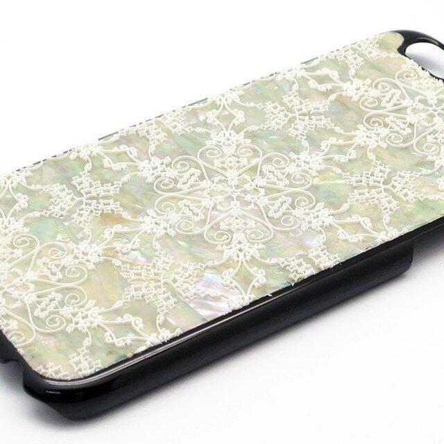 iPhone7/6/6sケース 天然貝仕様(星のかけら・黒カバー)<螺鈿アート>の画像1枚目