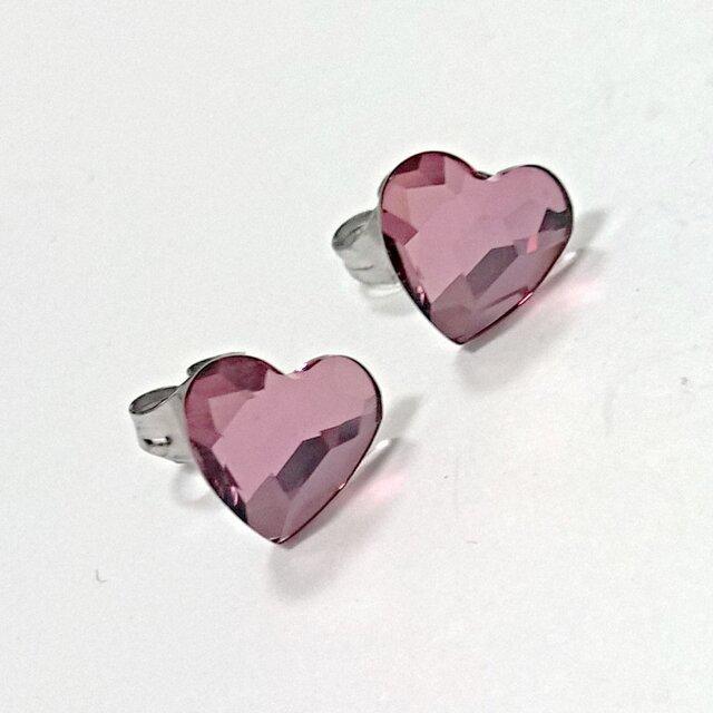 【スワロフスキー ハート10mm(antique pink)の ピアス】サージカルスティールポストの画像1枚目
