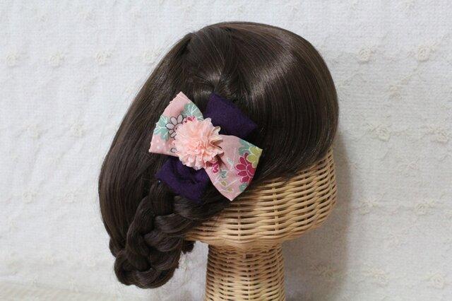 和柄リボンのクロス髪飾りの画像1枚目