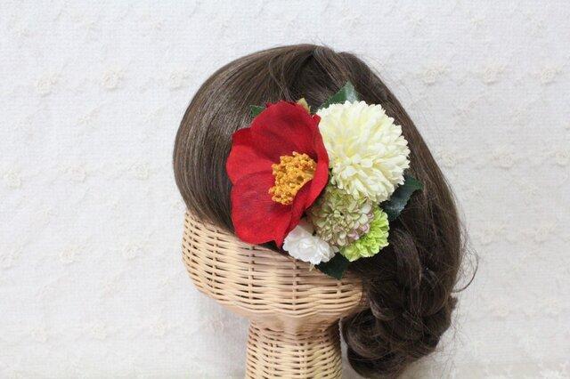 赤椿とピンポンマムの髪飾りの画像1枚目