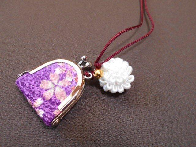 ちりめん豆がま口*紫×桜の画像1枚目