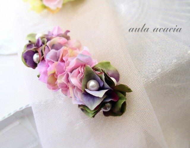 大人色紫陽花とパールのバレッタの画像1枚目