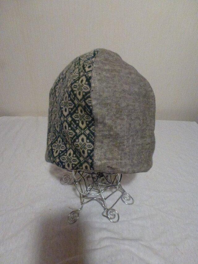 男女兼用リバーシブルニット帽子ジャガード×ウール天竺の画像1枚目