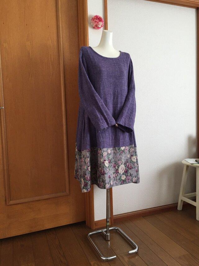 裾yuwa薔薇柄リネンウールフレアーワンピースの画像1枚目