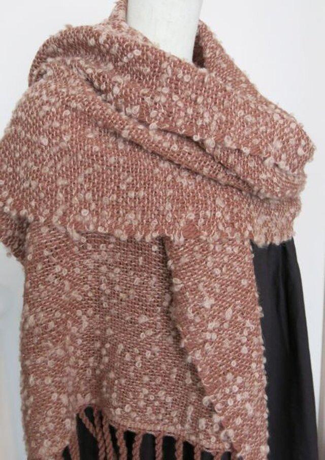 草木染アルパカふわふわループ手織りショール(茜色)の画像1枚目