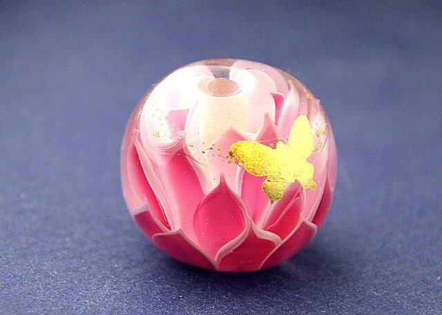 蓮と蝶 -金赤-の画像1枚目