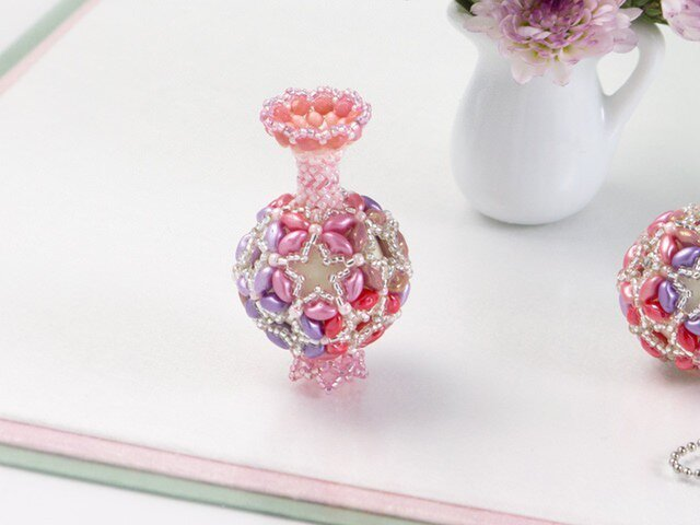 花てまりの飾り瓶・ピンクの画像1枚目