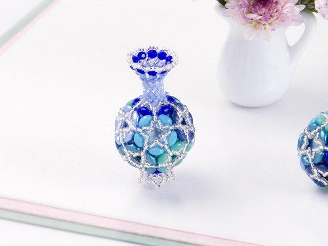 花てまりの飾りボトル・ブルーの画像1枚目