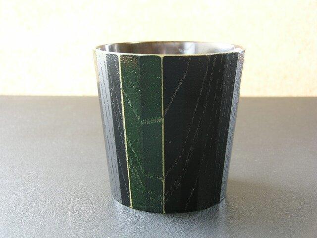 ケヤキ・フリーカップ<24角・黒>/緑・ストライプの画像1枚目
