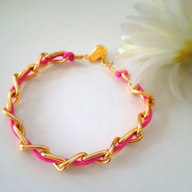 bracelet ♥ Pink × Goldの画像1枚目