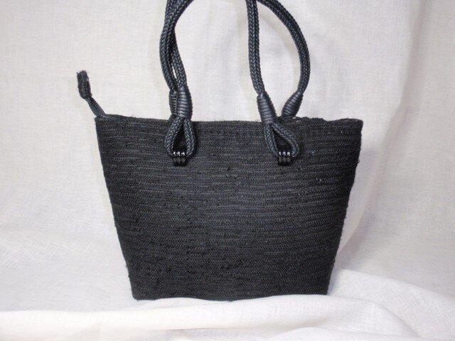売り切れ・不祝儀も使える上品な裂き織の黒のバッグの画像1枚目