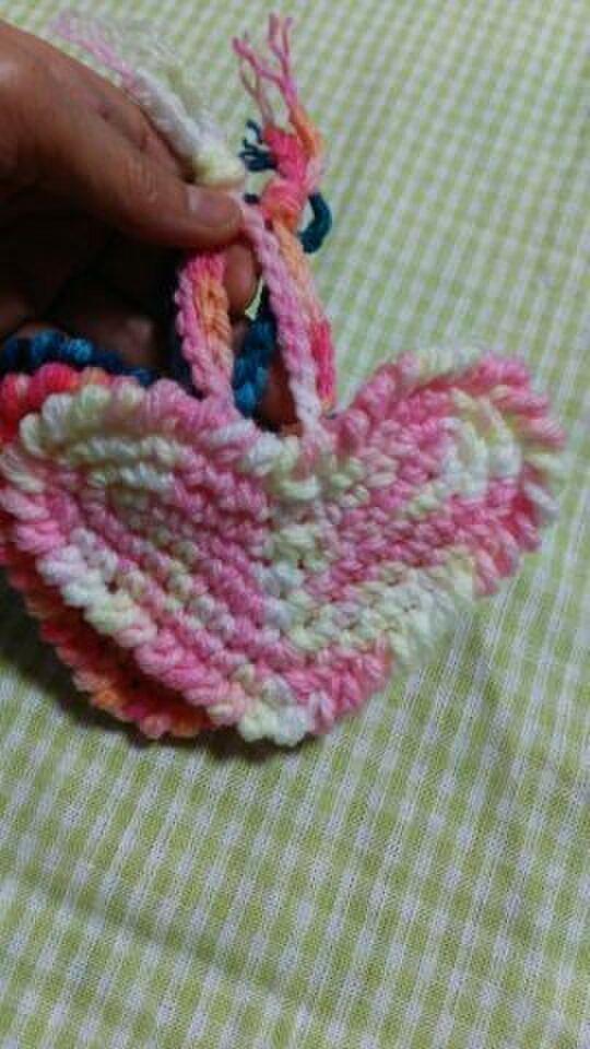 バレンタイン♡手編み*ハートのアクリルたわし♪3個セット♪送料無料♪の画像1枚目
