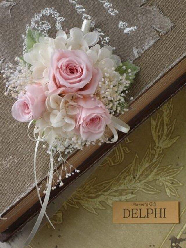 【受注製作】バラとかすみそうのコサージュ(ピンク)【プリザーブドフラワー】卒業式 入学式 結婚式の画像1枚目