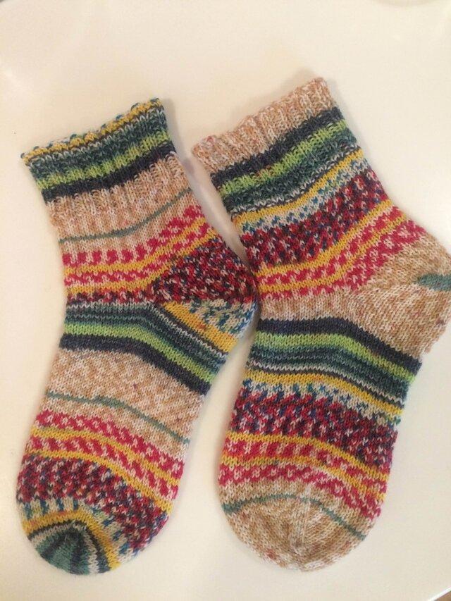 ドイツソックヤーンの手編み靴下【ポリプー冬の精霊】送料込の画像1枚目