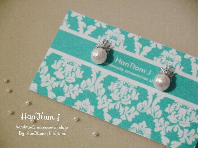 【HanTtam J】  silver petite tiara × cotton pearl ピアスの画像1枚目