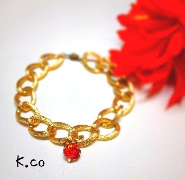 【bracelet】 Red × Goldの画像1枚目