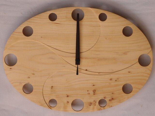 無垢の木の電波掛け時計 ひのき 0005の画像1枚目