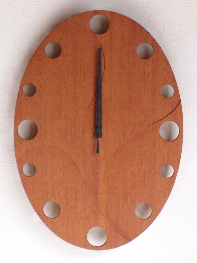 無垢の木の電波掛け時計 マホガニー 0006の画像1枚目