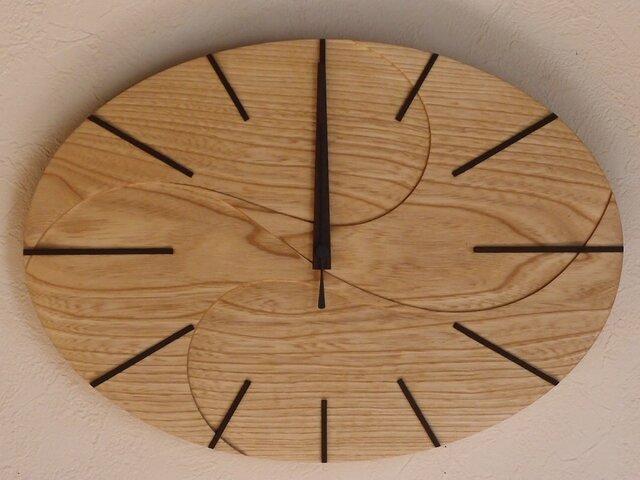 無垢の木の電波掛け時計 せん 0002の画像1枚目